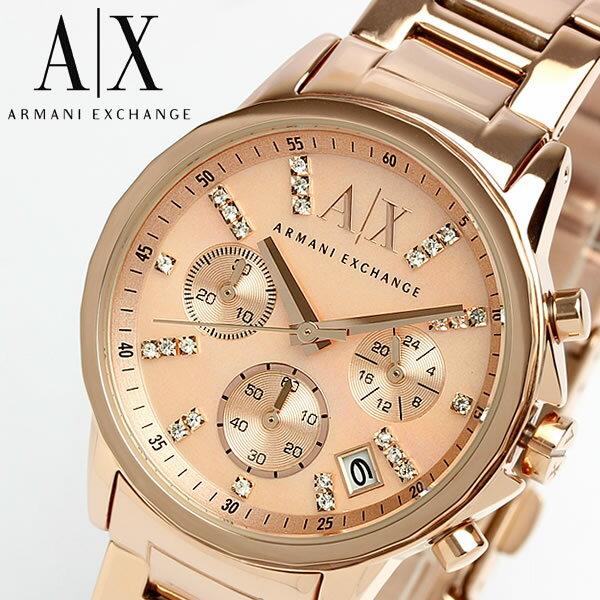 【送料無料】【ARMANI EXCHANGE】 アルマーニエクスチェンジ 腕時計 レディース クロノグラフ メタル ピンクゴールド シェル文字盤 ラインストーン A|X 女性用 AX4326 うでどけい lady's ブランド
