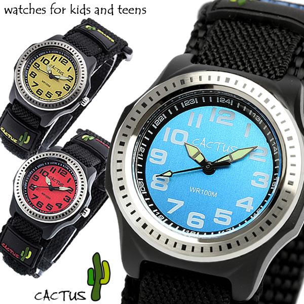 最大1000円OFFクーポン 【CACTUS】 カクタス 100M防水 ビーチコレクション ナイロンベルト マジックテープ キッズウォッチ 腕時計 ボーイズ CAC-45 Boy's Kids 子供用