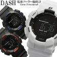 DASH ダッシュ 腕時計 メンズ 電波ソーラー 10気圧防水 カウントダウンタイマー12/24時間表示 第二時刻表示 ELバックライト adww15039