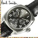 【送料無料】Paul Smith ポールスミス 腕時計 うでどけい ウォッチ メンズ 男性用 クオーツ クロノグラフ 日常生活防水 レザーベルト ブラック p10045