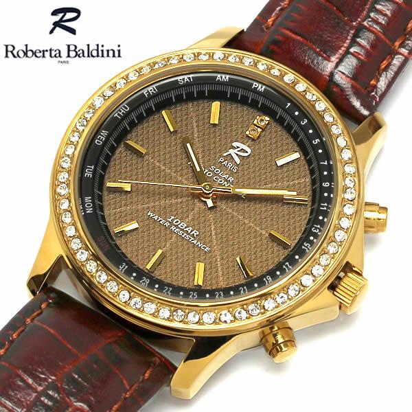 Roberta Baldini ロベルタ バルディーニ 腕時計 ウォッチ メンズ ソーラー電波時計 10気圧防水 針表示カレンダー 天然ダイアモンド 本革 rb001-g