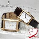 【ペアウォッチ】 UNITED ARROWS ユナイテッドアローズ 2本セット 腕時計 ウォッチ コードバン 馬革 レクタンギュラー プレゼント UA3703-04 UA8704-04