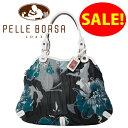ペレボルサ PELLE BORSA バッグ フラワー ショルダーバッグ6514 ブルー