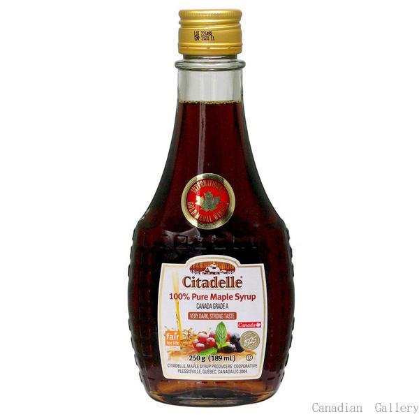 カナダ産 100%ピュア メープルシロップ グレードA ベリーダーク(ストロングテイスト) 189ml/250g(瓶) 12本 お土産袋付 シタデール(Citadelle)sv