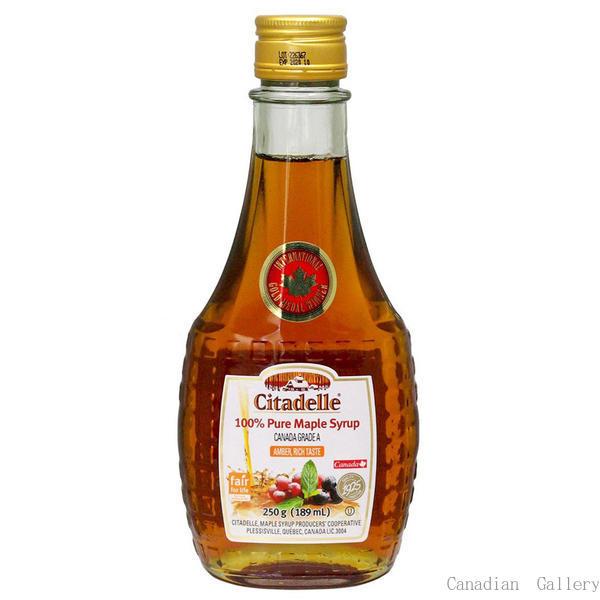 カナダ産 100%ピュア メープルシロップ グレードA アンバー(リッチテイスト) 189ml/250g(瓶) 12本 お土産袋付 シタデール(Citadelle)sv