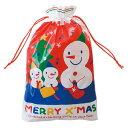 クリスマス スノーマン 巾着型ギフト袋【M】【メール便可】【返品・キャンセル不可】ch