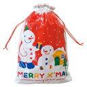 クリスマス スノーマン 巾着型ギフト袋【L】【メール便可】【返品・キャンセル不可】ch