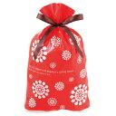 北欧レッド リボン付きバッグ【L】ウインタープレゼント用高級ギフト袋クリスマスや冬のプレゼントに【メール便可】【返品・キャンセル不可】ch