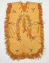 カナダ・ヒューロン族先住民 ジョズ・ビン氏の作品とっても柔らかいハンドメイド鹿革ポンチョ