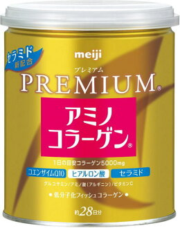 ] with the spoon attached to ceramide new combination PREMIUM with canned 200 g of Meiji Seika amino collagen premiums ten case [net Colla powder type