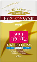 214 g of Meiji Seika amino collagen premium refills 20 bags case []