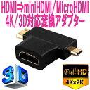 【送料無料】4K/3D対応 MicroHDMI/MiniHDMI⇒HDMI変換アダプター コネクタ パソコン ノートPC デジタルカメラ 一眼レフカメラ スマホ タブレット 出力などから 液晶テレビ モニター プロジェクターなどへ出力可能 HDMIケーブル