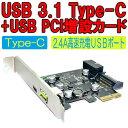 【送料無料】珍品!USB3.1 Type-Cコネクタ+高速充電2.4A用USBポート PCI拡張増設カード Windows/最新macbook対応 PC/AT互換機 大容量HDD 入力デバイス PCIスロット増設タイプUSBチップ搭載USB 3.1/C Card [USB 3.1 Type-C x1/2.4A USB Port]インターフェース増設ボード