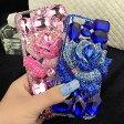 【送料無料】 iPhone6/6S iPhone6/6S plus ローズ&クリスタル 薔薇と宝石でケース背面を埋め尽くす可愛いストーンデコレーション柔軟TPUケース キラキラ カバー スマホケース ジュエル クリスタル ビジュー ハンドメイド ラインストーン ピンク ブルー アイフォン6 プラス