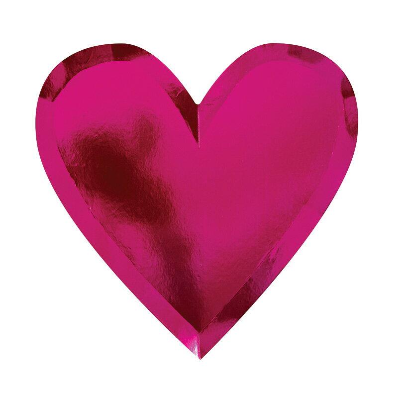 あす楽!【MeriMeri】ピンクハートシェイプ パーティープレート  8ピースセット