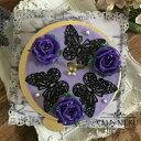 紫のばらと蝶のクリームチーズケーキ 【チーズクリームケーキ インスタ映え ケーキ スイーツ バタークリーム 誕生日ケーキ バースデーケーキ ホールケーキ 美味しいケーキ 花 バラ チーズケーキ チーズ・・・