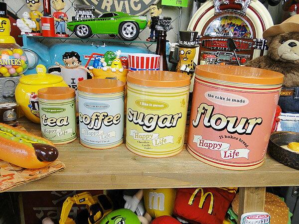 アンティークフラワーティン缶 4個セット ■ アメリカ雑貨 アメリカン雑貨 カントリー雑貨 ナチュラル
