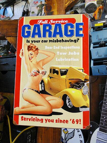 アメリカンブリキ看板フルサービスガレージのU.S.ヘヴィースチールサイン