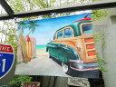 サーフウッディワゴンのタペストリー ■ アメリカ雑貨 アメリカン雑貨 西海岸 西海岸ス