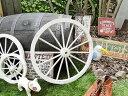 自宅をテーマパーク的演出☆ アンティーク木製車輪(ホワイト/Lサイズ) ■ アメリカ雑貨 アメリカン雑貨 ウエスタングッズ