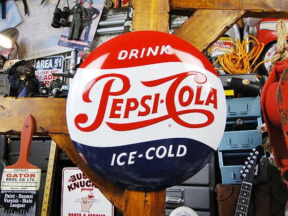 ペプシのエンボスティンサイン(1950年代ロゴ/ラウンド)★サインプレートブリキアメリカ看板ティンサインサインボードアメリカンブリキ看板アメリカ雑貨アメリカン雑貨