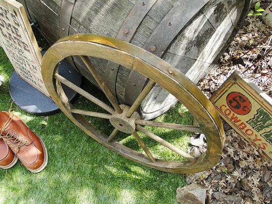 アンティーク木製車輪Lサイズ(ブラウン)★ウエスタングッズ★アメリカ雑貨★アメリカン雑貨