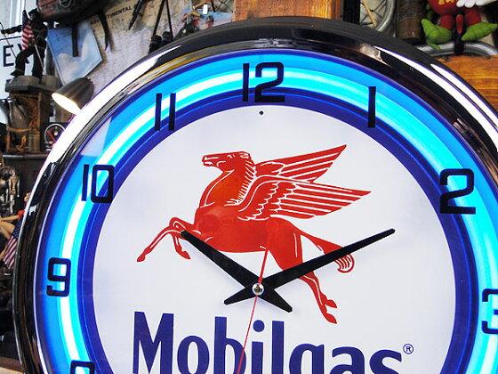 【全国送料無料】モービルのネオンクロック★ネオン管★掛け時計★アメリカ雑貨★アメリカン雑貨