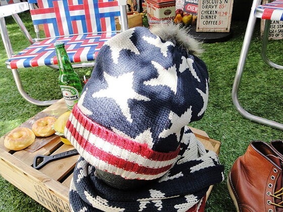 星条旗のニットキャップ(Bタイプ)★アメリカ雑貨★アメリカン雑貨