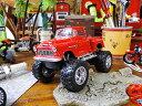 1955 シボレー・ステップサイド・ピックアップのミニカー(モンスタートラックバージョン) 1/32スケール(レッド)  ■ アメリカ雑貨 アメリカン雑貨