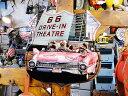 ルート66ドライブインシアター&ピンクキャデラックのU.S.ヘヴィースチールサイン ■ サインプレート ブリキ アメリカ看板 ティンサイン..