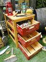 マーキュリーのウッドボックス引き出し式3段ラック(レッド) ■ 木箱 小箱 小物入れ
