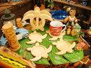 ウッド素材で木目がキレイ!ハワイアン ウッドコースターセット(ホヌ/カメ)