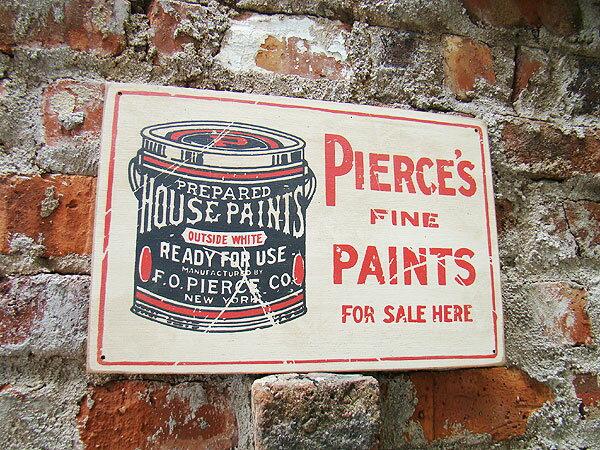 昔のアドバタイジングのウッドサイン(ペンキ缶) ...の商品画像