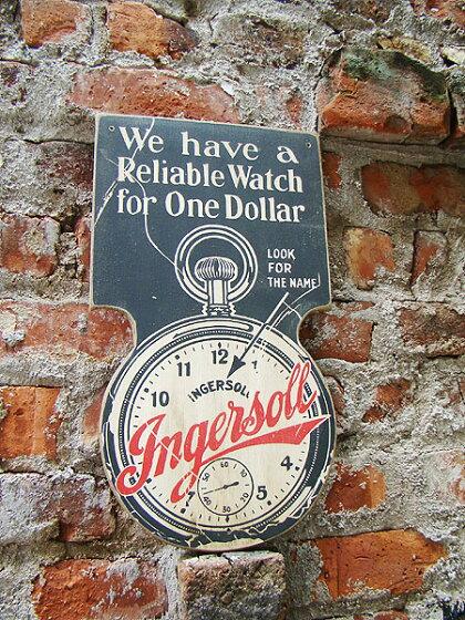 昔のアドバタイジングのウッドサイン(ウォッチ)★アメリカ雑貨★アメリカン雑貨