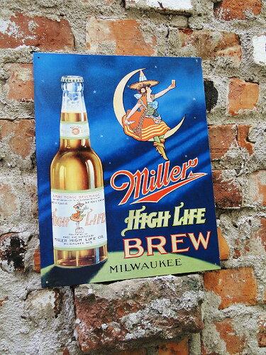 アメリカンブリキ看板 ミラービール -High Life Brew-