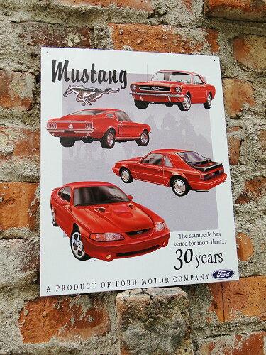 アメリカ ブリキ看板 マスタング -Mustang 30yr. Tribute- ■ サインプレート ブリキ アメリカ看板 ティンサイン サインボード アメリカンブリキ看板 アメリカ雑貨 アメリカン雑貨 壁飾り インテリア雑貨 おしゃれ 人気 壁面装飾 絵
