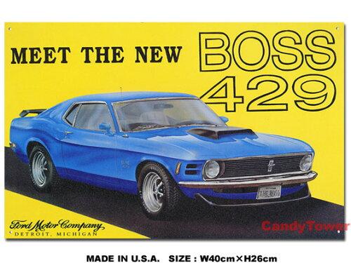 アメリカ ブリキ看板 マスタング -Mustang Boss 429- ■ サインプレート ブリキ アメリカ看板 ティンサイン サインボード アメリカンブリキ看板 アメリカ雑貨 アメリカン雑貨 壁飾り インテリア雑貨 おしゃれ 人気 壁面装飾 ウォールデコレーション アンティーク