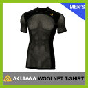 <2016年秋冬新作!>ACLIMA アクリマ ウールネットTシャツ メンズ【送料無料】インナー メッシュTシャツ ウール メリノウール アンダーウェア スポーツ メンズ