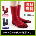 日本野鳥の会 バードウォッチング靴下 メリノ 【送料無料】 レディース メンズ 長靴 登山 アウトドア ソックス 靴下 メリノウール 保温性 吸湿性