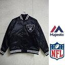 セール Majestic(ビッグワッペン)アスレティックヘヴィウェイトサテンジャケット(スタジャン)NFL(オークランド レイダース)Oakland Raiders☆マジェスティックMM23-ORL-0017-BLK5