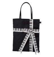 鍵盤織リボンバッグL♪お取り寄せ商品です♪【音楽雑貨音符・ピアノモチーフ】【バレエ発表会の記念品に最適♪】お取り寄せ大量注文できます♪音符ト音記号楽譜