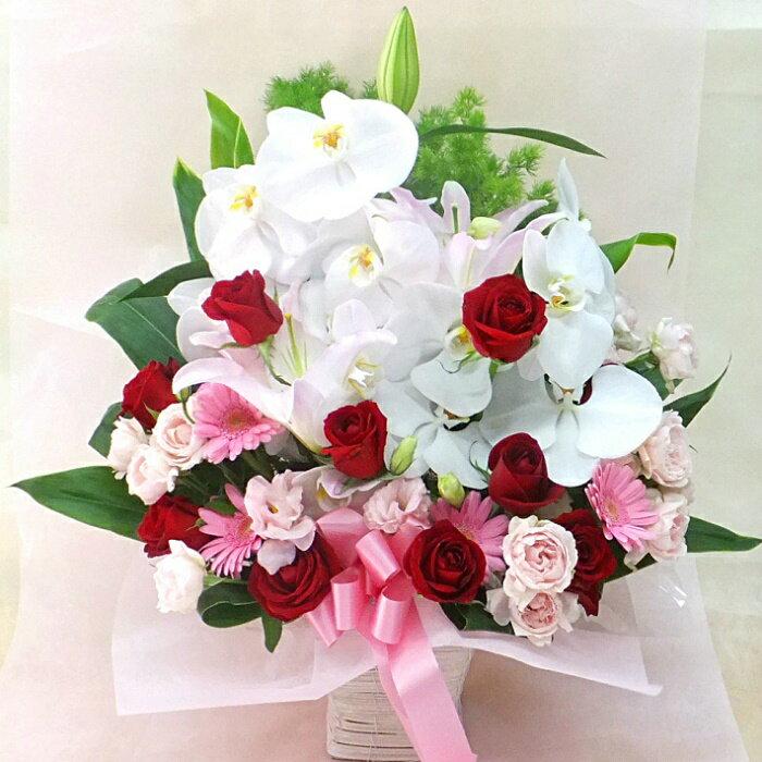 胡蝶蘭と赤バラのフラワーアレンジメント御祝 還暦 古希 喜寿 米寿 傘寿 開業祝い 法人用 祝賀会 周年記念 創立記念 御礼 内祝い