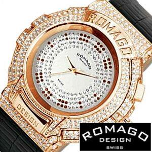 ロマゴデザイン腕時計[ROMAGODESIGN時計](ROMAGO DESIGN 腕時計 ロマゴ デザイン 時計) (Trend series) メンズ レディース シルバー RM025-0256ST-RGBK[クリスタル ストーン ミラーウォッチ ブラック ピンク ゴールド 黒 桃 金 3針 ブランド プレゼント ギフト]