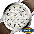 [31%OFF]フォッシル腕時計 FOSSIL時計 FOSSIL 腕時計 フォッシル 時計 グラント GRANT メンズ/ホワイト FS4735 [革 ベルト/クロノ グラフ/ブラウン/シルバー/アイボリー/クリーム/ファッション/人気/ギフト/プレゼント/ご褒美][ おしゃれ腕時計 ]