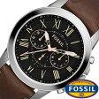 [送料無料]フォッシル腕時計 FOSSIL時計 FOSSIL 腕時計 フォッシル 時計 グラント GRANT メンズ/ブラック FS4813 [革 ベルト/クロノ グラフ/ブラウン/シルバー/ファッション/人気/フォーマル][ギフト/プレゼント]