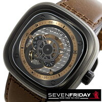 セブンフライデー腕時計 SEVENFRIDAY時計 SEVENFRIDAY 腕時計 セブンフライデー 時計 インダストリアル レボリューション P SERIES メンズ シルバー P2-01 [革 機械式 自動巻 ブラウン ローズ ゴールド グレー P2-1][ おしゃれ ブランド ]