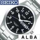 セイコー腕時計 SEIKO時計 SEIKO 腕時計 セイコー 時計 アルバ クオーツ ALBA メンズ ブラック AQGJ405 [ 正規品 新作 ブランド 人気 ソーラー 防水 メタル シルバー カレンダー]