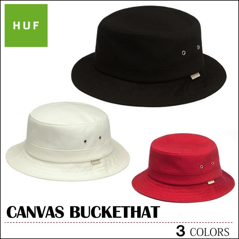 【セール SALE ゆうパケット送料無料】 HUF ハフ バケットハット バケット キャンバス キャップ CANVAS BUCKET HAT 帽子 ブラック ホワイト レッド メンズ レディース フェス スケート スケボー