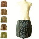 きゃら(Cara) イカットをリメイクしたショート丈のミニマムスカート 絣織り 個性的なエスニック 民族 アジアン