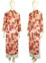 ≪値下げしました≫アオザイ 花柄 伝統スタイル 白のパンツつき ベトナム製 送料無料きゃら ファッション オリジナル
